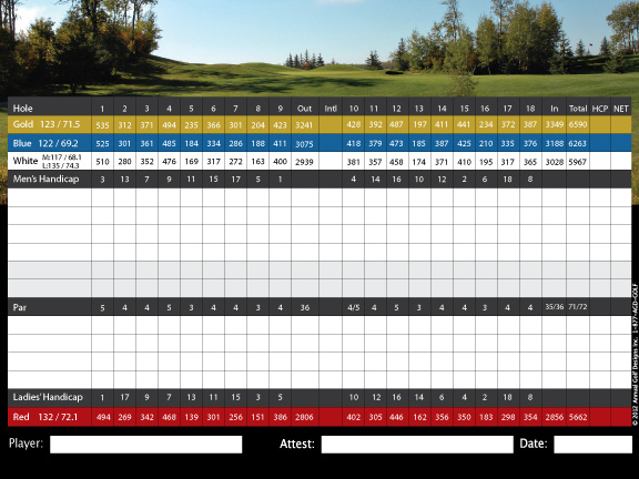 Eagle Rock Golf Course score card